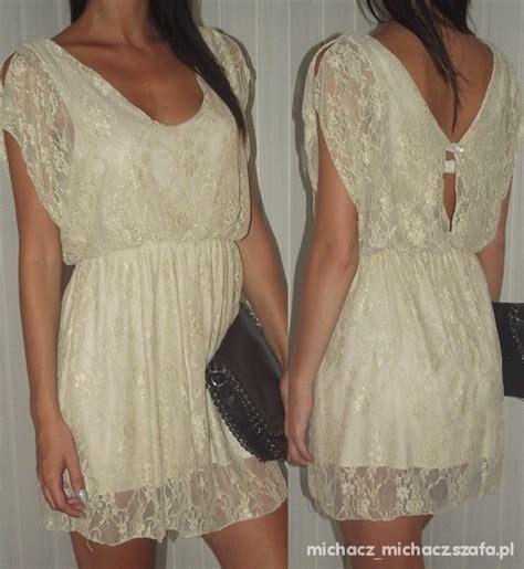 bezowa sukienka koronka w suknie i sukienki szafa pl