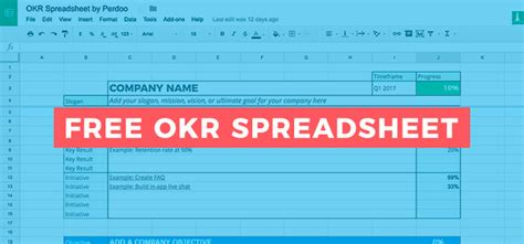 google sheets okr template    manage