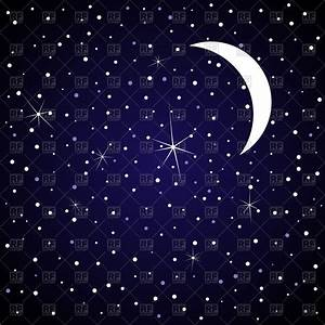 Moon in night sky with stars Royalty Free Vector Clip Art ...