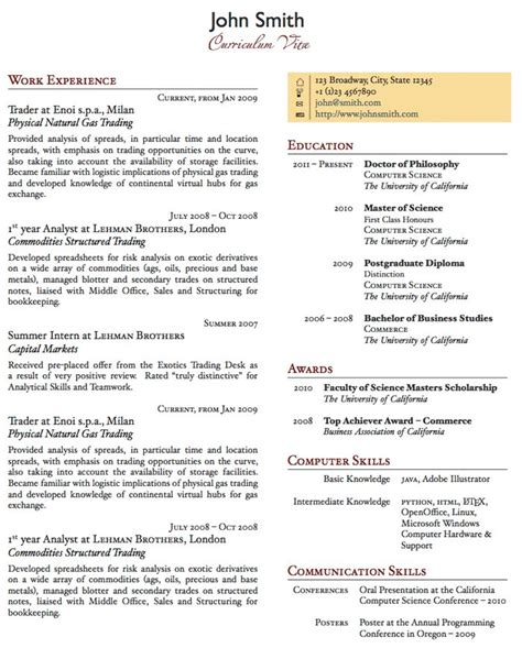 One Page Resume Exle by Two Column One Page Cv Resume Template Office