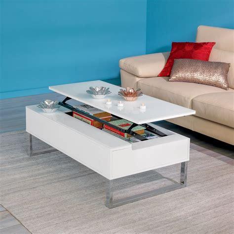 table de cuisine alinea novy table basse avec tablette relevable blanche