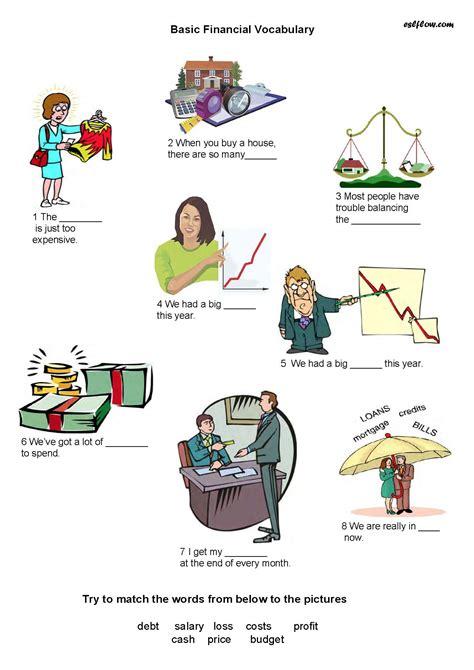 basic financial vocabulary worksheet  business english