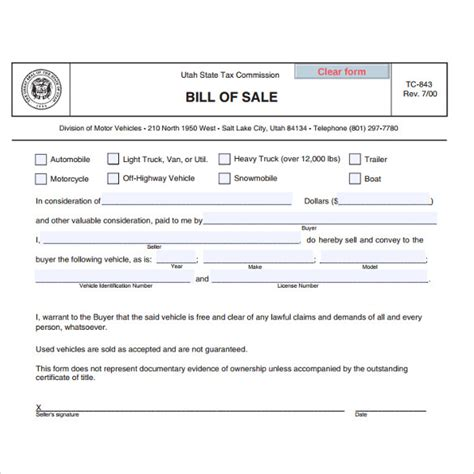 utah car bill of sale form 7 used car bill of sale templates download for free
