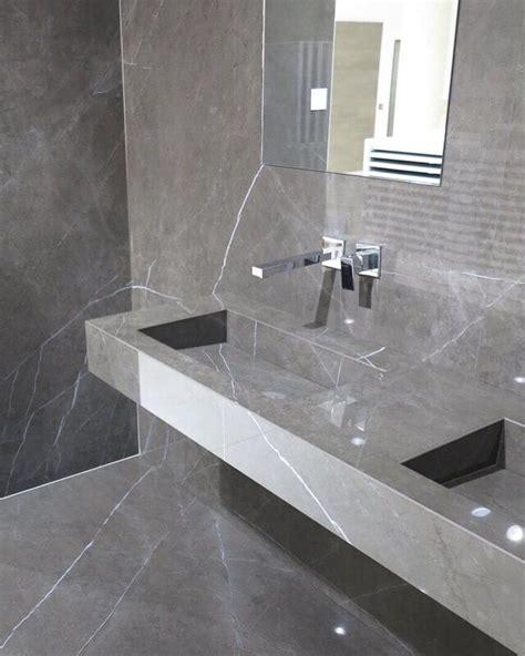 Porcelain Tile Bathrooms by Pietra Grey Porcelain Tile Marble Look Slab Floor