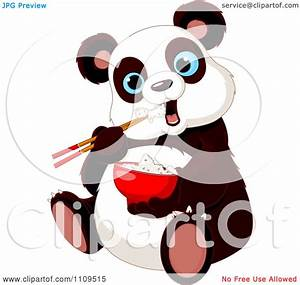 Clipart Cute Hungry Panda Eating Rice With Chopsticks