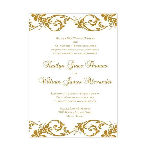 Tropical Damask Wedding Invitation Gold Wedding Template