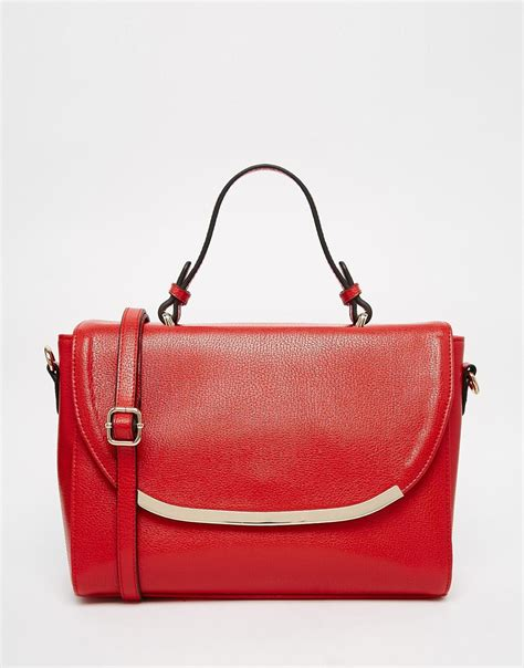asos top handle tote bag  red lyst