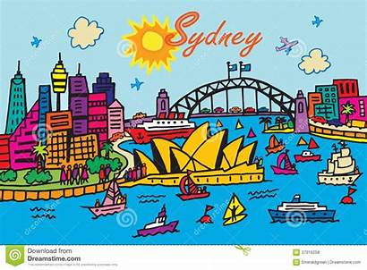 Sydney Cartoon Australia Illustration Vector Clipart Royalty