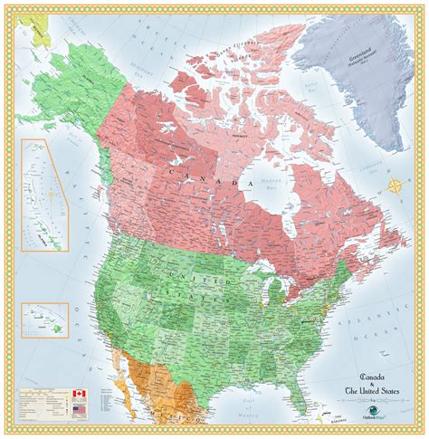usa  canada wall map mapscom