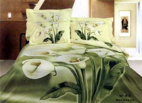 3d Green White Floral Flower Bedding Comforter Set King