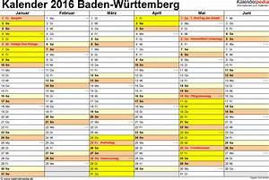 Schulferien 2016 Nrw : kalender 2016 baden w rttemberg ferien feiertage pdf vorlagen ~ Yasmunasinghe.com Haus und Dekorationen