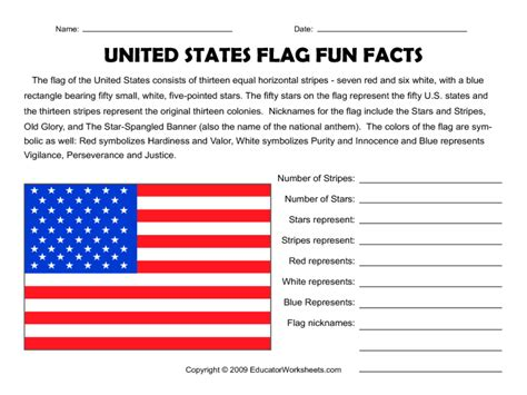 united states flag facts worksheet lesson planet