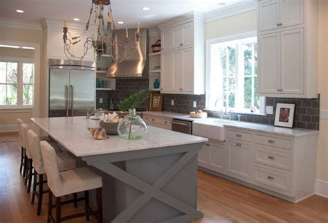 white kitchen island two reasons why subway tile backsplash is your best choice