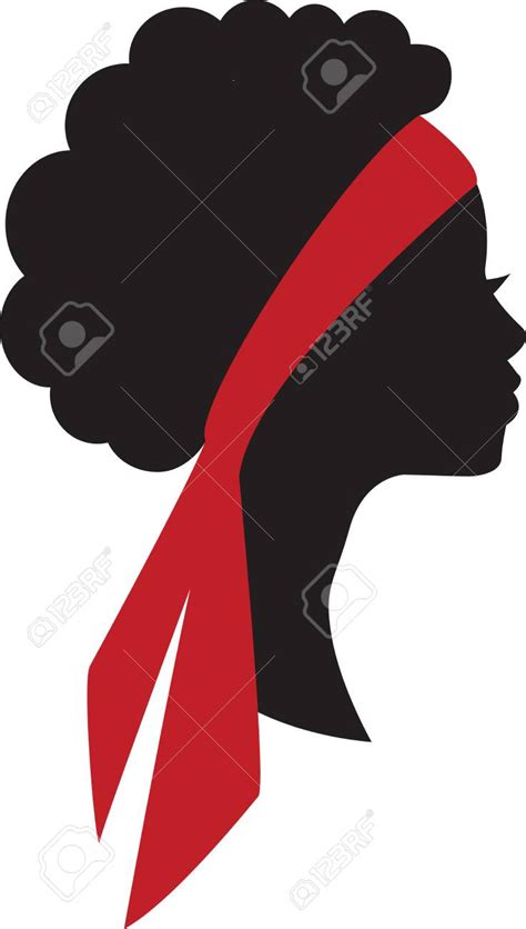 Silhouette of beauty young african girl head in profile