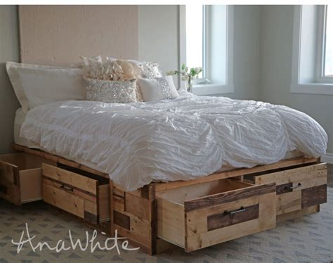 brandy scrap wood storage bed  drawers queen ana white