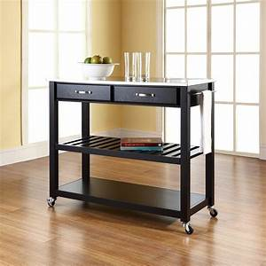 Crosley Black Kitchen Cart With Stainless Steel Top