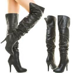 womens boots knee high leather faux leather the knee thigh high stiletto heel slouchy womens boot sz10 ebay