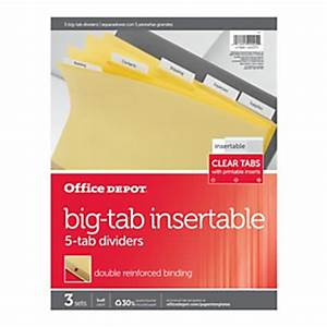 Office depot brand insertable tab dividers 5 tab buff for Office depot divider templates