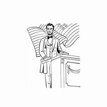 Lincoln Abraham Speech Coloring Pages Clipart President
