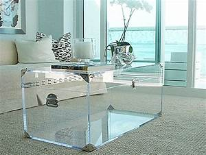 20 chic acrylic coffee tables for Clear trunk coffee table