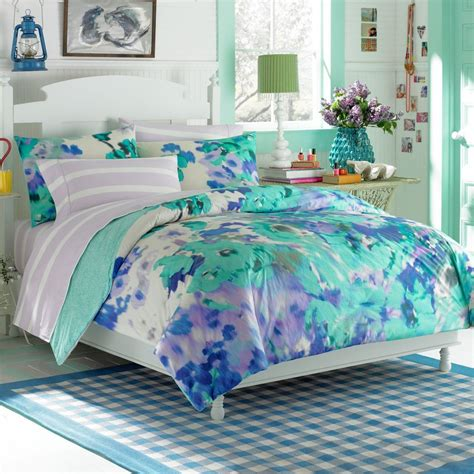 Contemporary Bedroom With Gray Blue Teen Girl Bedding Sets