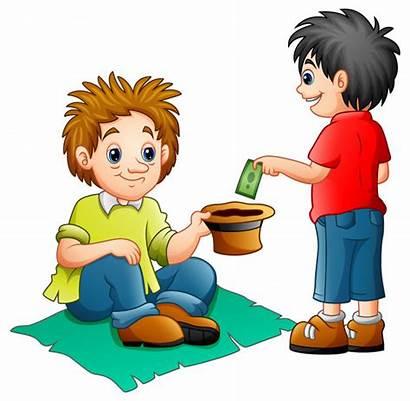 Money Beggar Give Boy Cartoon Vector Clipart