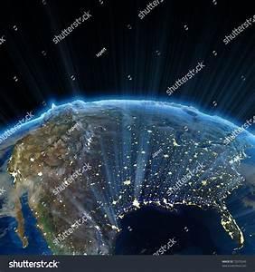 Usa Night Earth Map Nasa Stock Illustration 72070243 ...