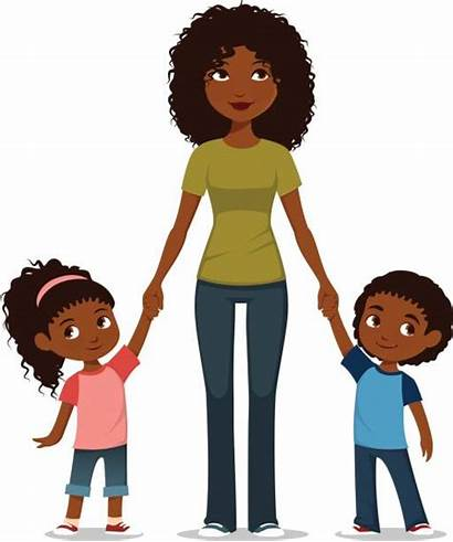 African American Mother Children Vector Brother Illustrations
