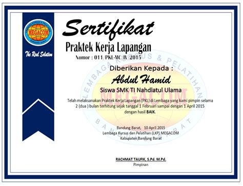contoh sertifikat prakerin pkl lembaga kursus