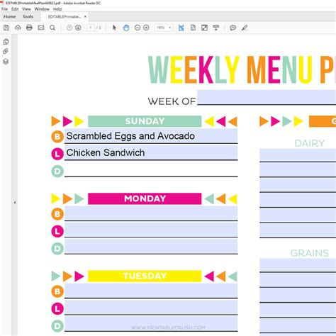 editable weekly meal planner editable meal plan printable printable crush