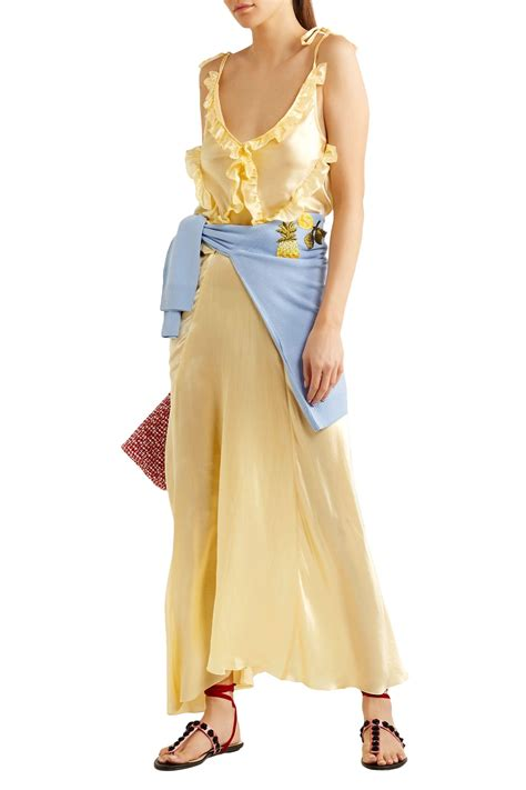 attico marisa ruffled silk satin maxi dress  yellow