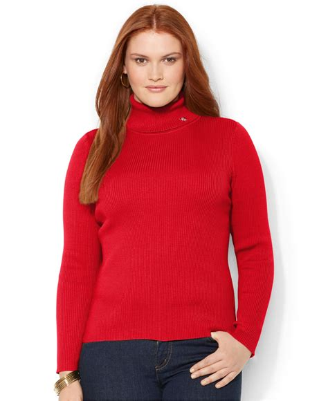 plus size sweaters by ralph plus size ribbed turtleneck sweater