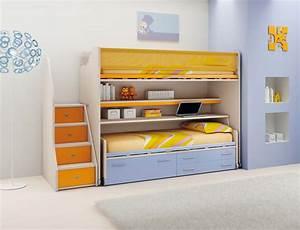 Lit Superposé Escalier : chambre enfant lits superpos s coulissant moretti ~ Premium-room.com Idées de Décoration