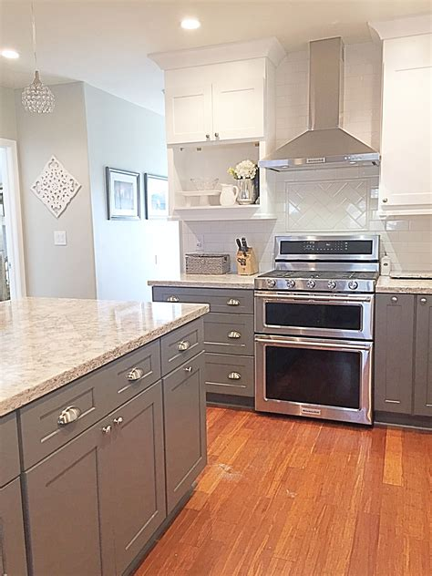 grey and white cabinets cambria quartz berwyn two tone kitchen gray and white