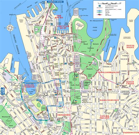 sydney attractions map   printable tourist map
