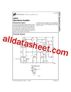 LM741 Datasheet(PDF) - National Semiconductor (TI)