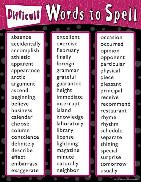 difficult words  spell chart tcr teacher created
