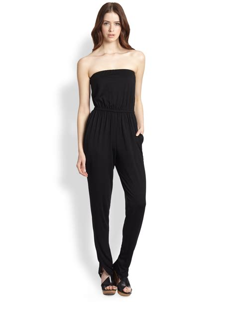 pally jumpsuit pally lennon strapless jersey jumpsuit in black lyst