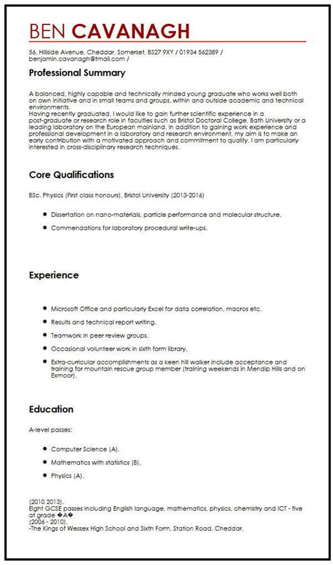 cv exle for graduate students myperfectcv