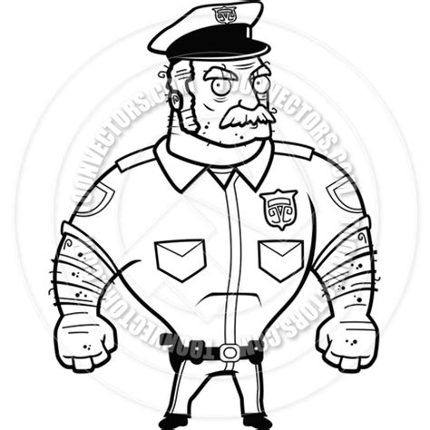 11589 policeman clipart black and white officer angry black and white line by