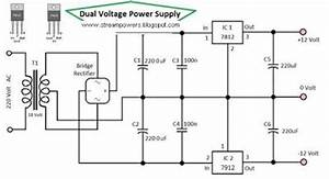 simple dual voltage power supply 12 volt loublet schematic With dual power supply no on board transformer dual power supply