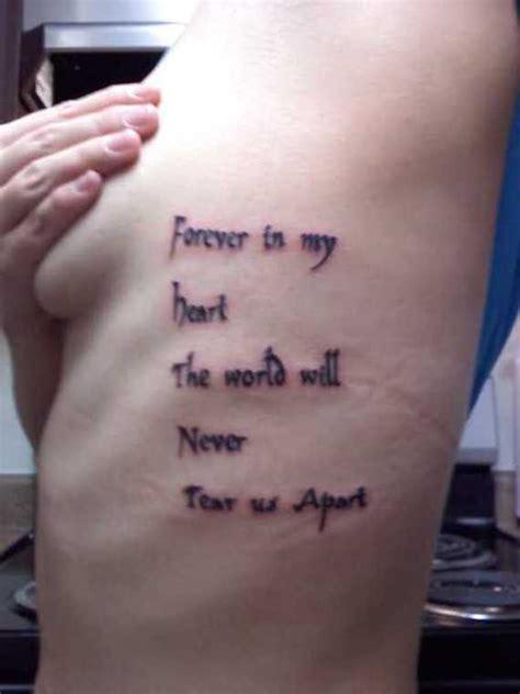 engaging rib script tattoos rib quote rib lettering