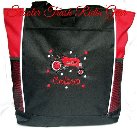 personalized monogrammed tractor tote bag red diaper bag boys farm farmall baby ebay