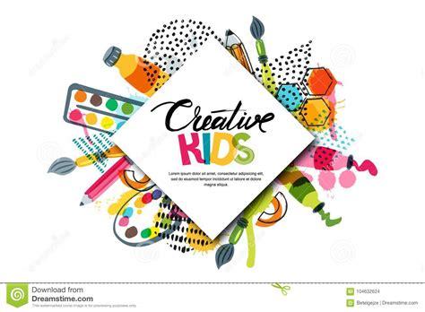 Kids Art Craft, Education, Creativity Class. Vector Banner