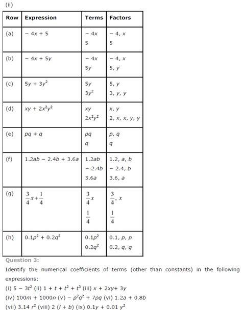 algebraic expressions worksheets 7th grade cbse