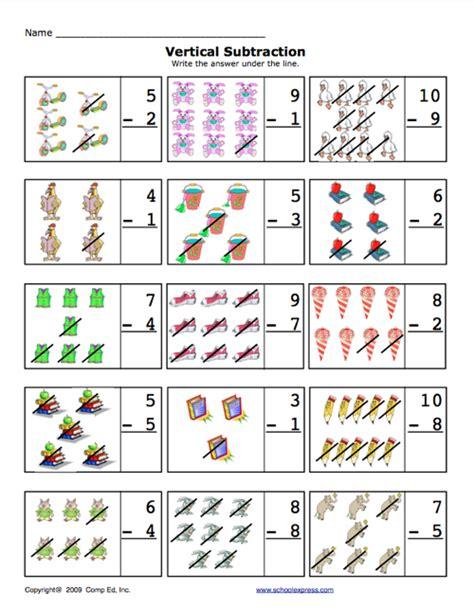 vertical subtraction worksheets for kindergarten school express vertical subtraction worksheet education