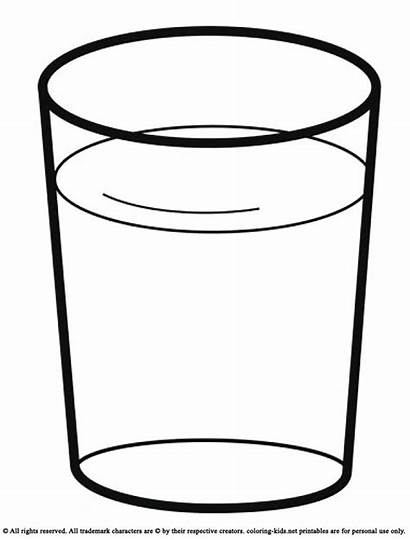 Water Glass Clipart Coloring Drink Cup Pages