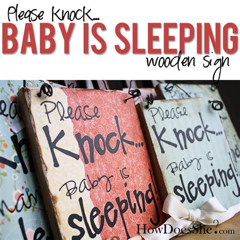 Please Knock Baby Is Sleeping Sign