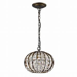Acclaim lighting olivia light indoor pendant oil rubbed bronze with crystal in orb