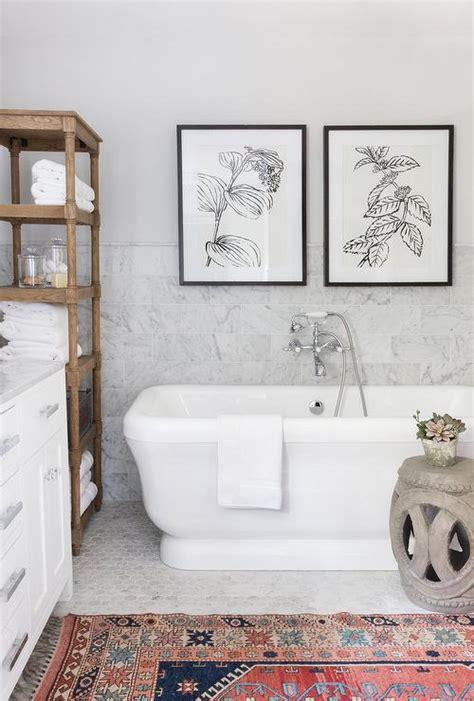 art pieces  bathtub transitional bathroom